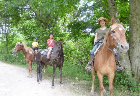 八剣山の麓で乗馬体験